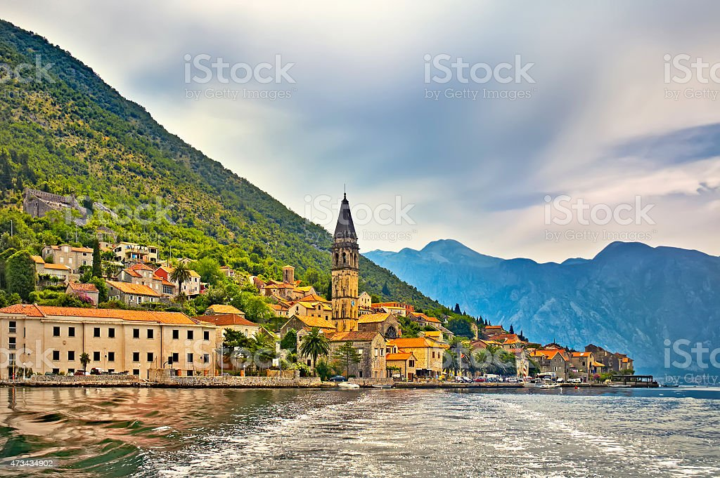 Town of Kotor on the lake stock photo