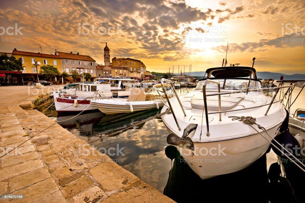 Town of Krk golden morning view, Kvarner bay archipelago of Croatia stock photo