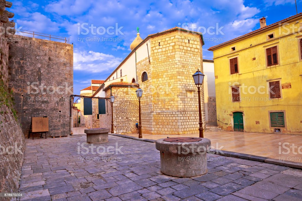 Town of Krk historic ston square view, Kvarner region of Croatia stock photo