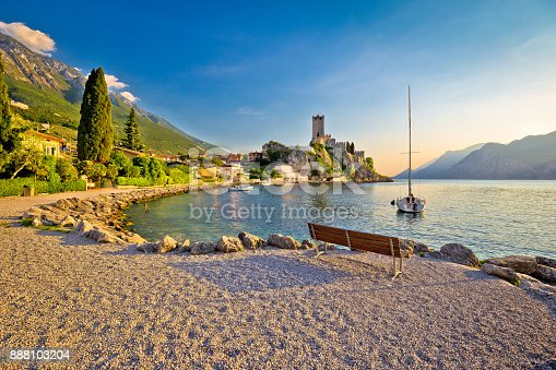 istock Town of Malcesine castle and beach view, Veneto region of Italy, Lago di Garda 888103204