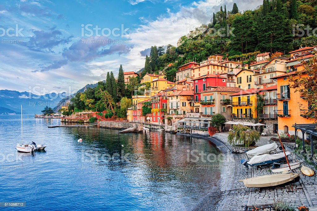 Town of Menaggio on lake Como, Milan, Italy stock photo