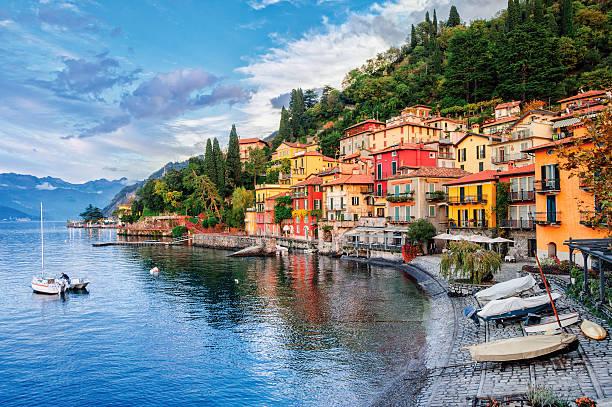 Town of Menaggio on lake Como, Milan, Italy stock photo