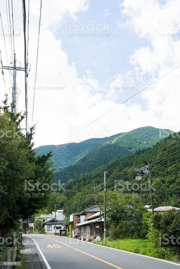 Town of Minobu among mountains photo libre de droits