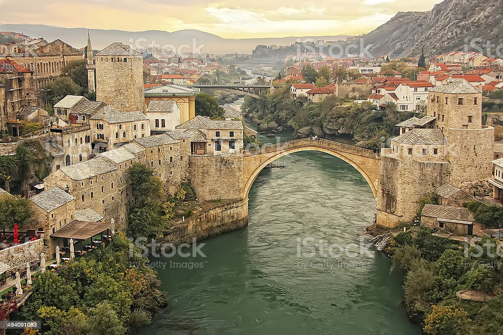 Town of Mostar with Stari Most, Bosnia and Hercegovina Town of Mostar and Stari Most at sunset, Bosnia and Hercegovina Architecture Stock Photo