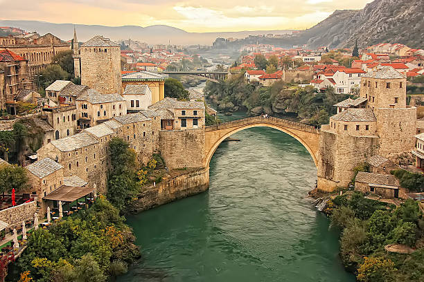 Town of Mostar with Stari Most, Bosnia and Hercegovina stock photo