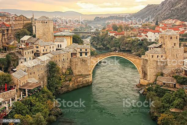 Town Of Mostar With Stari Most Bosnia And Hercegovina Stock Photo - Download Image Now