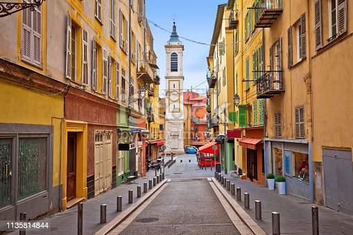 Town of Nice colorful street architecture and church view, tourist destination of French riviera, Alpes Maritimes depatment of France