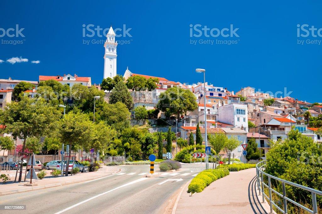 Town of Novi Vinodolski street and landmarks view, Kvarner bay in Croatia stock photo