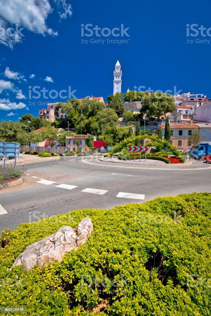 Town of Novi Vinodolski vertical view, Kvarner bay in Croatia stock photo