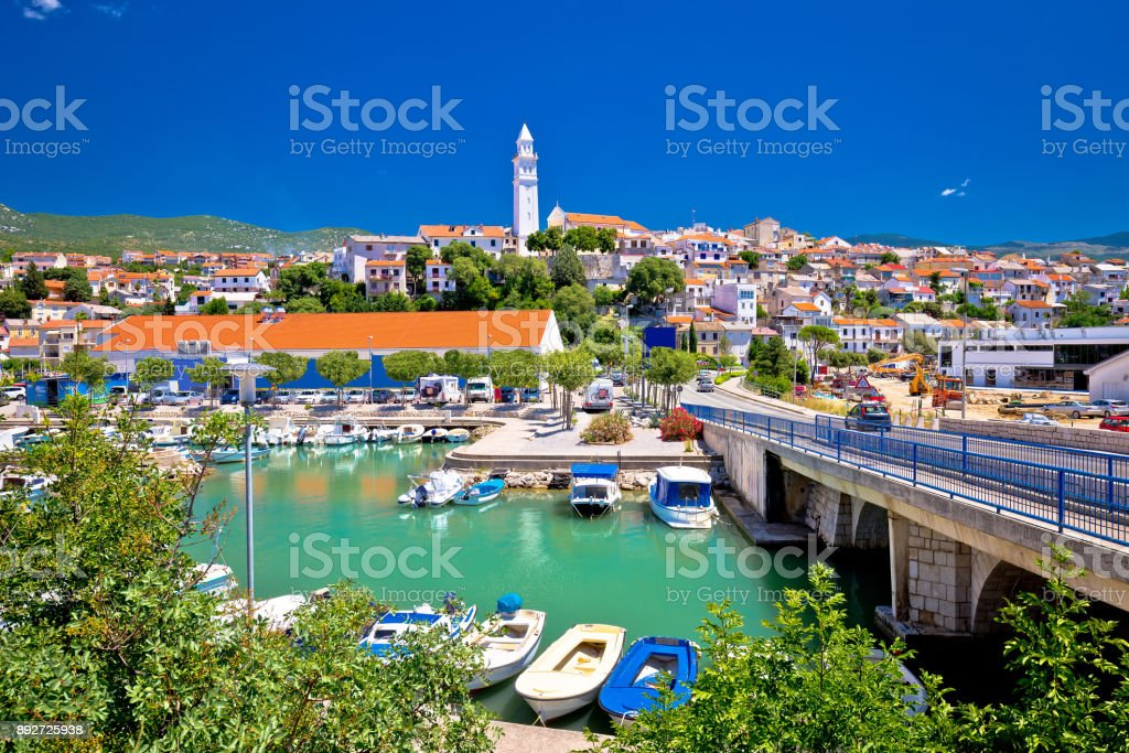 Town of Novi Vinodolski waterfront panoramic view, Kvarner region of Croatia stock photo