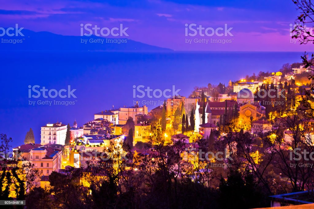 Town of Opatija cathedral evening view, Kvarner bay of Croatia stock photo