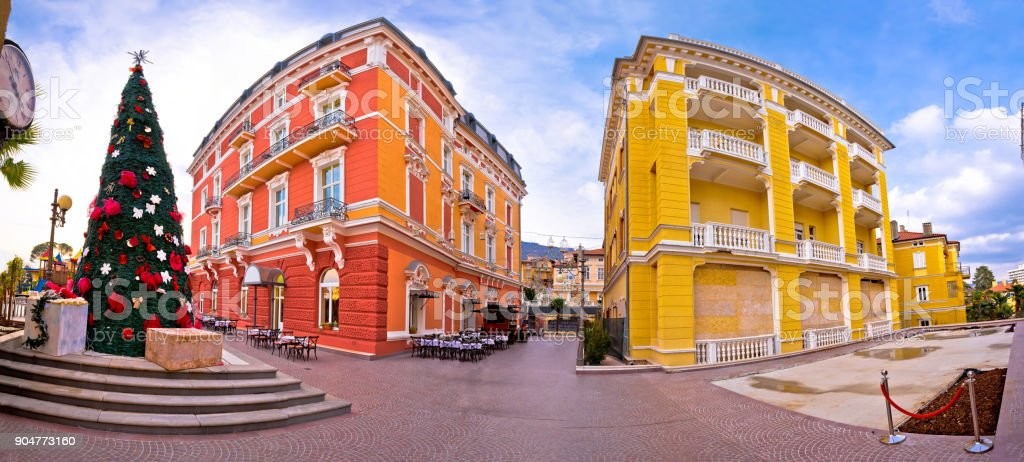 Town of Opatija colorful architecture panoramic advent view, Kvarner bay region of Croatia stock photo