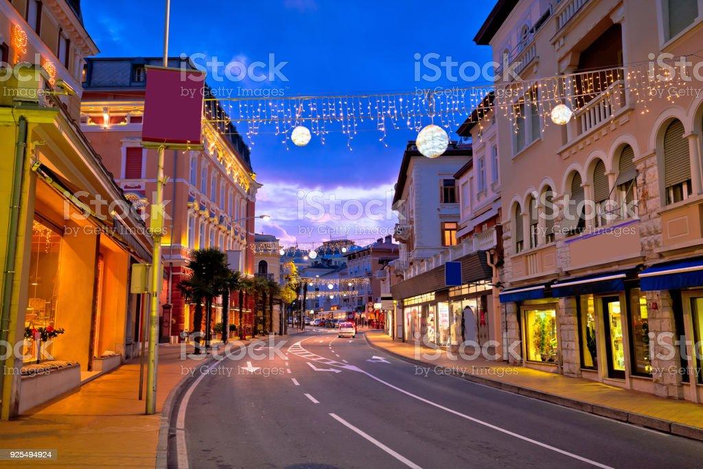 Town of Opatija evening street view, classic architecture of Kvarner, Croatia stock photo