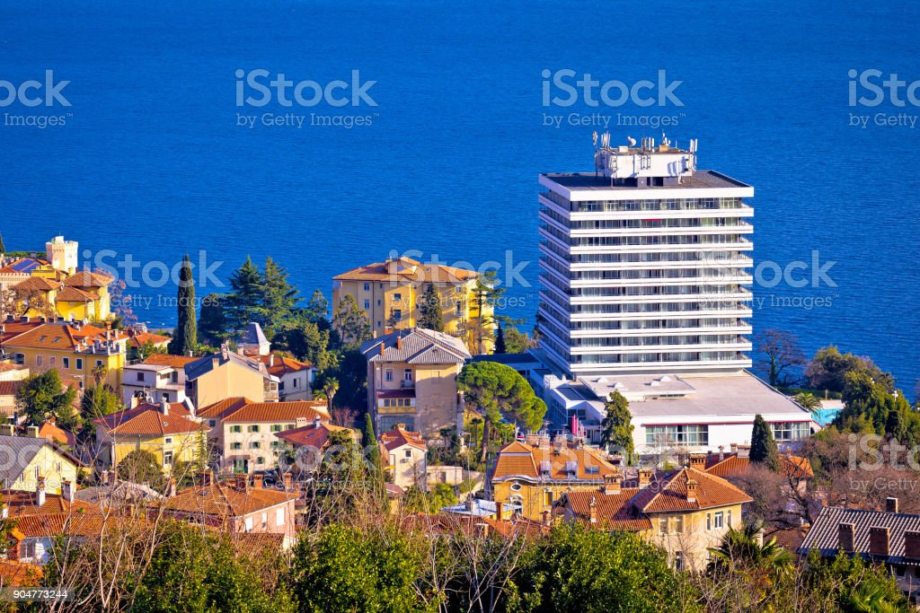 Town of Opatija waterfront aerial view, Kvarner bay of Croatia stock photo