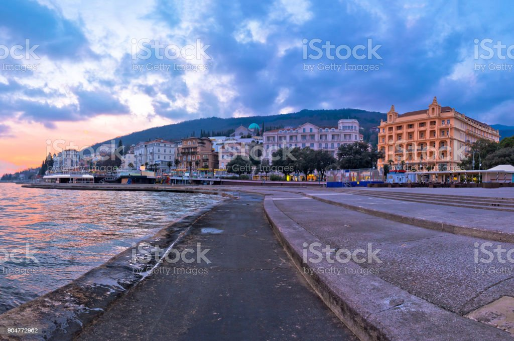 Town of Opatija waterfront at sunset view , Kvarner bay of Croatia stock photo