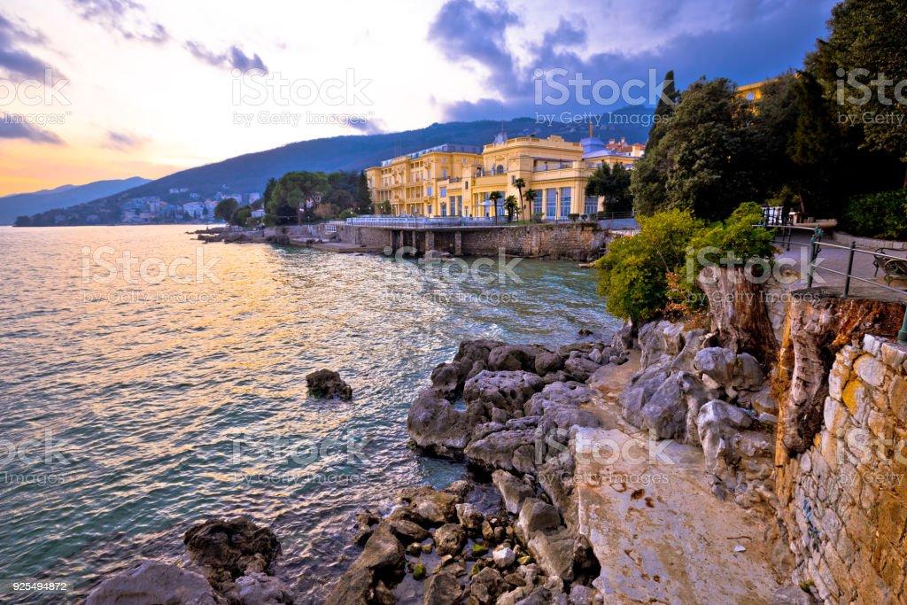 Town of Opatija waterfront dramatic sky view, Kvarner bay of Croatia stock photo