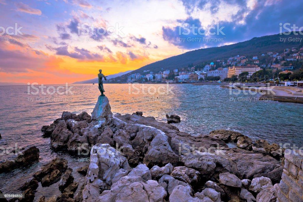 Town of Opatija waterfront sunset, Kvarner bay in Croatia stock photo