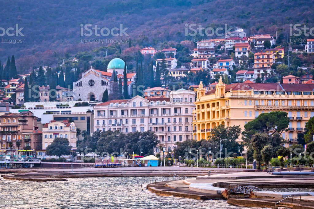 Town of Opatija waterfront view, Kvarner bay, Croatia stock photo