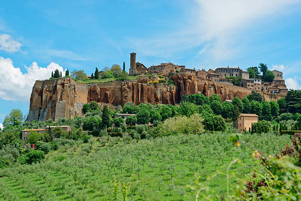 Town of Orvieto, Umbria, Italy View at ancient town of Orvieto, Umbria, Italy tuff stock pictures, royalty-free photos & images