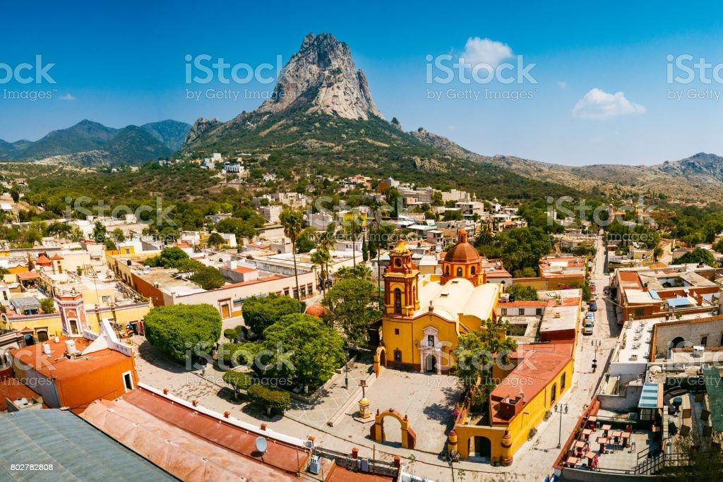 Town of Peña de Bernal in Queretaro stock photo