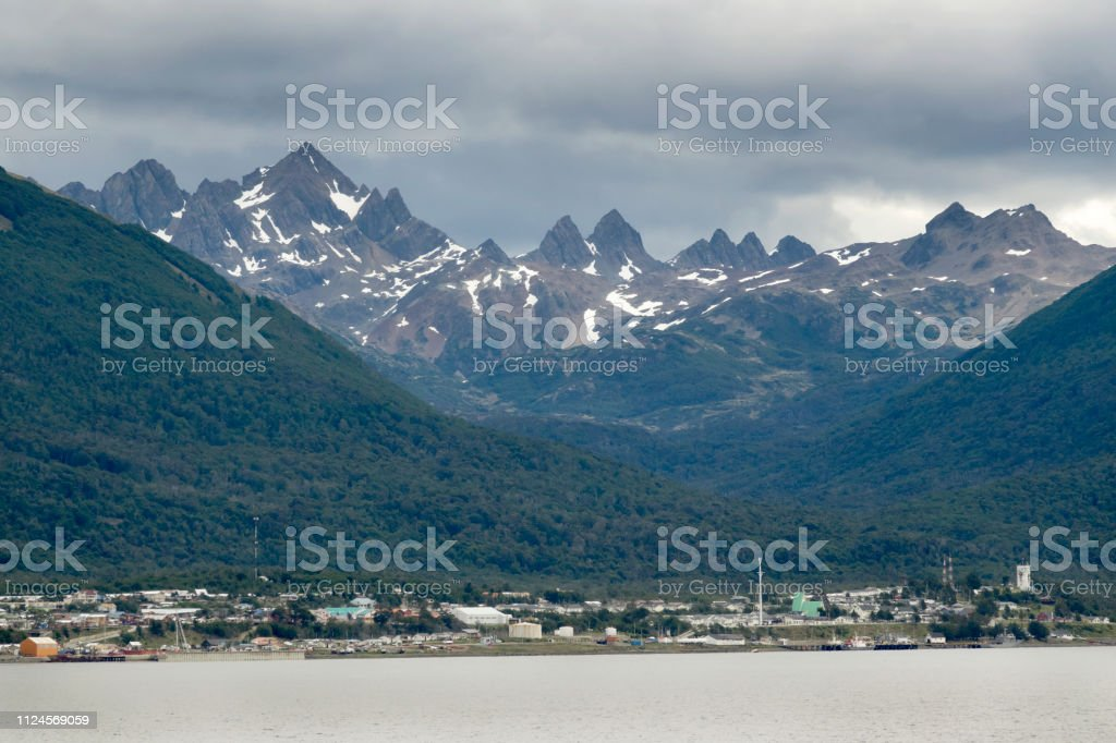 Town of Puerto Williams Beagle Channel Dientes de Navarino Mountains Chile stock photo