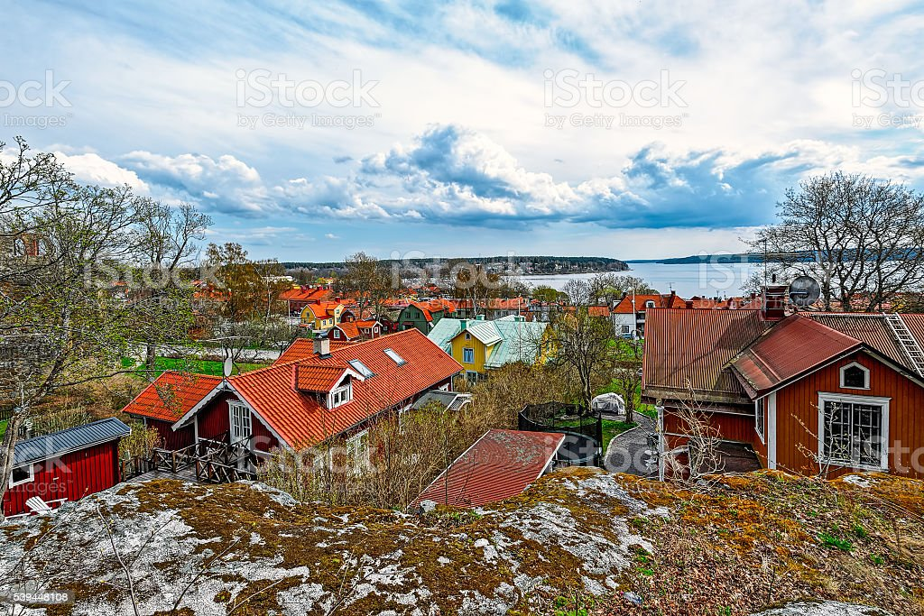 Town of Sigtuna with the lake Malar stock photo