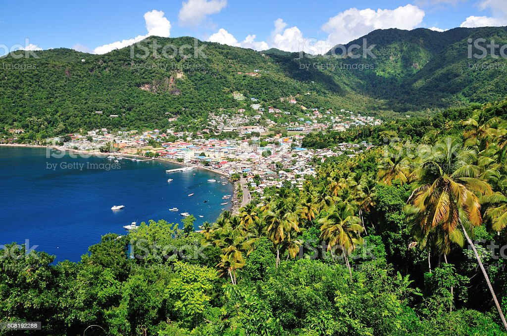 Town of Soufriere and its bay stock photo