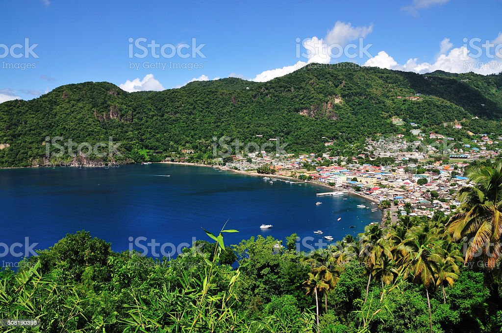 Town of Soufriere by the bay stock photo
