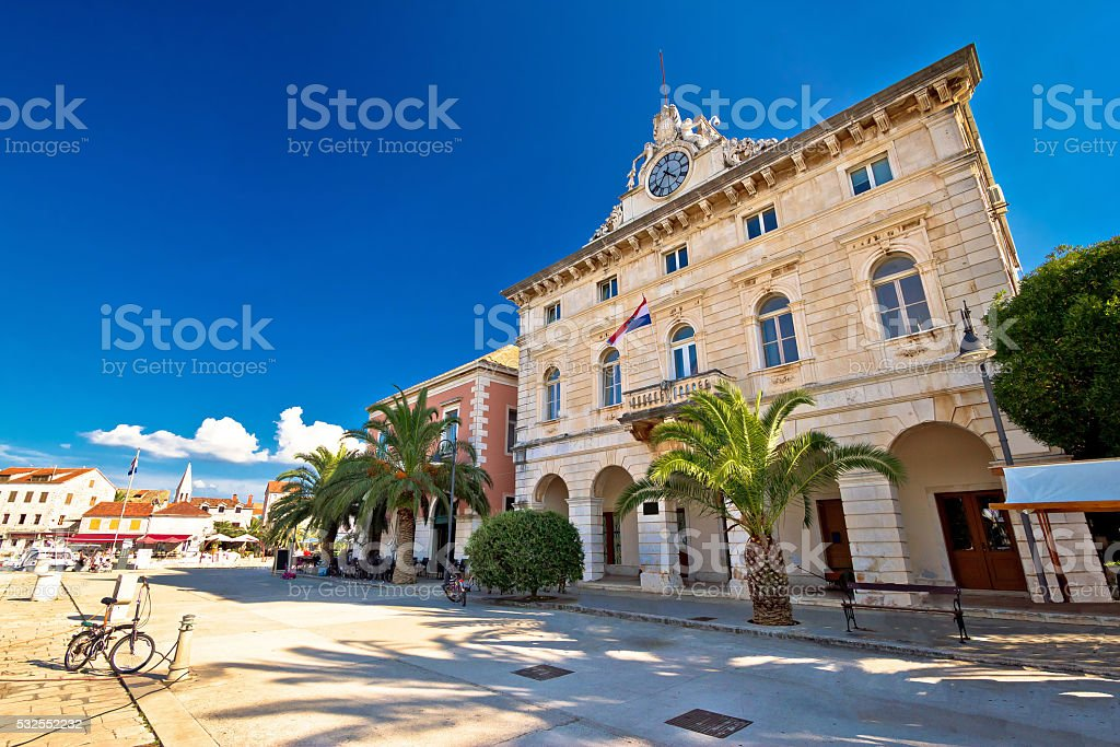 Town of Stari Grad waterfront architecture stock photo