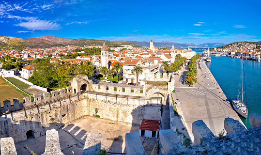 Town of Trogir rooftops and landmarks view
