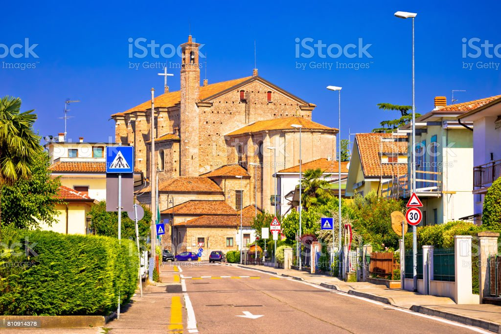 Town of Valeggio sul Mincio street view, Veneto region of Italy stock photo