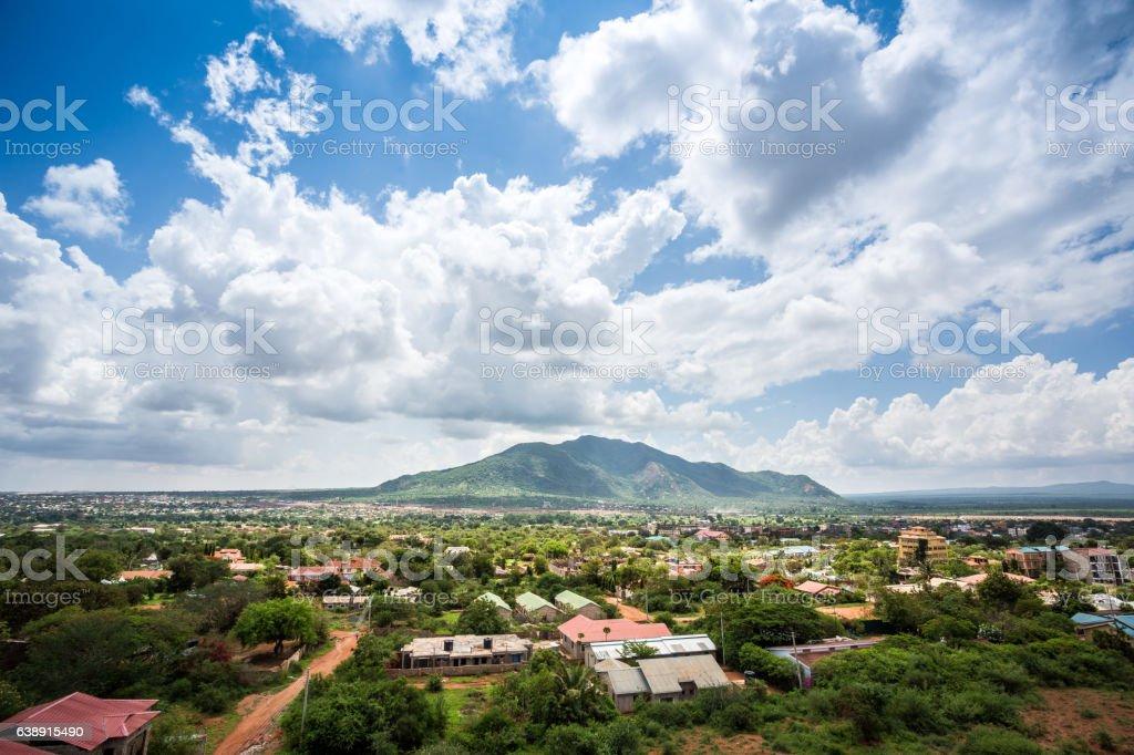 Town of Voi panorama, Kenya stock photo