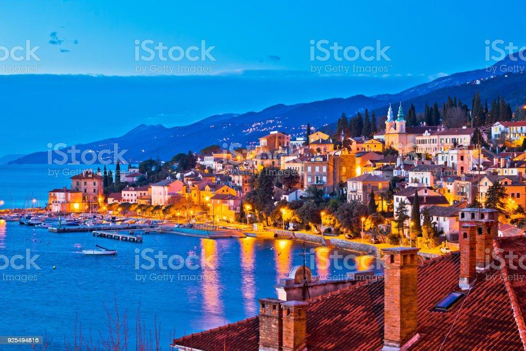 Town of Volosko evening waterfront view, Opatija riviera of Croatia stock photo
