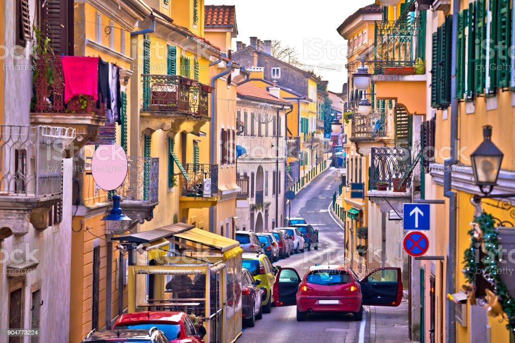 Town of Volosko street view, Opatija riviera of Croatia stock photo