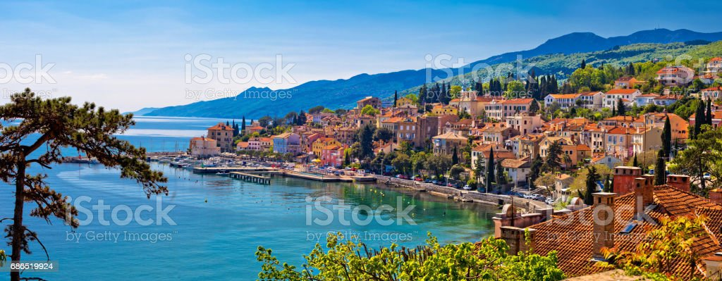 Town of Volosko waterfront panoramic view, Kvarner bay, Croatia stock photo