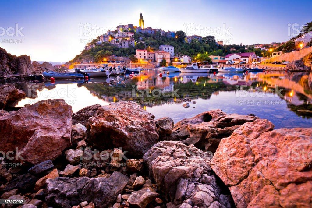 Town of Vrbnik harbor view morning glow, Island of Krk, Kvarner bay archipelago, Croatia stock photo