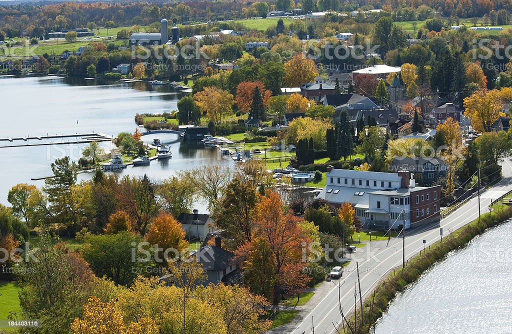 Town of Westport in Fall Series stock photo