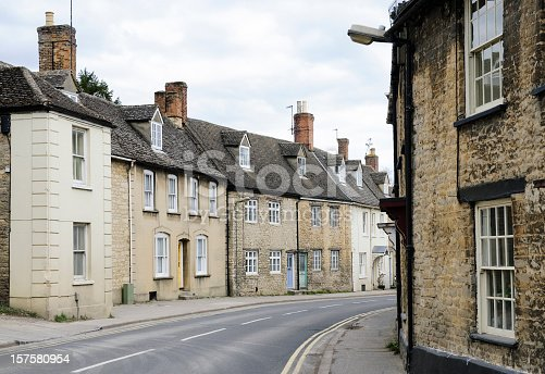 Several traditional Cotswold houses in the Oxfordshire town of Witney, England.