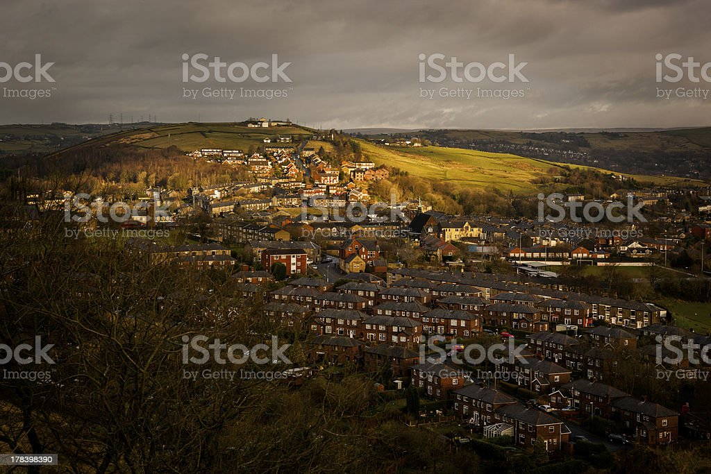 town on hill countryside royalty-free stock photo