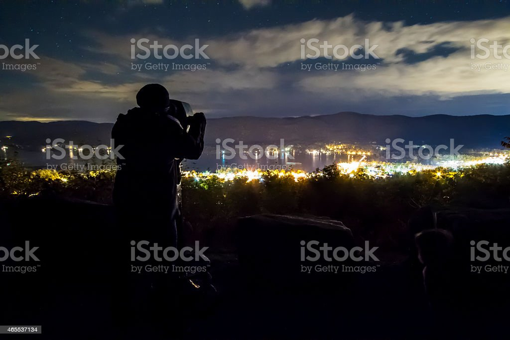 Town Overlook at Night stock photo