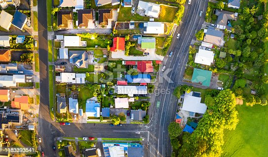 An aerial image taken from directly above the streets of New Plymouth, on New Zealand's North Island.