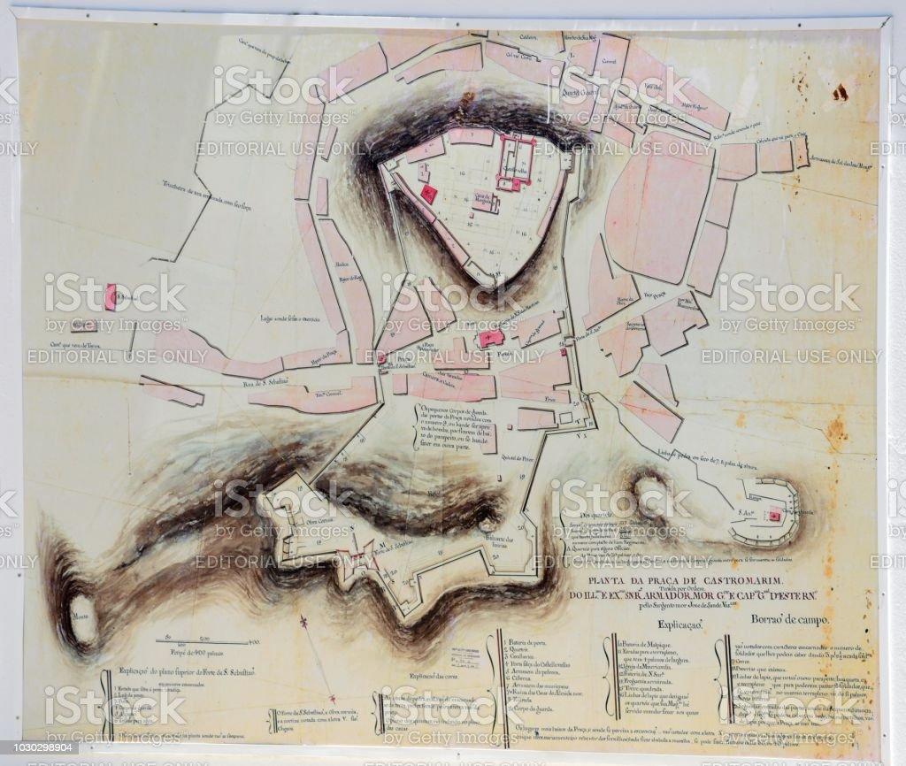 Town plan, Castro Marim. stock photo