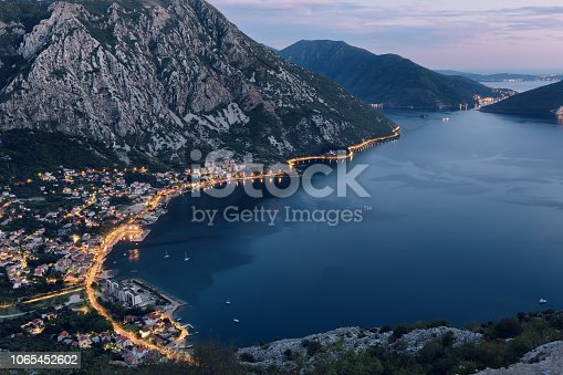Small town called Risan, part of Kotor bay in Montenegro, Eastern Europe