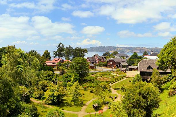 Town settled by German immigrants, Frutillar, Chile stock photo