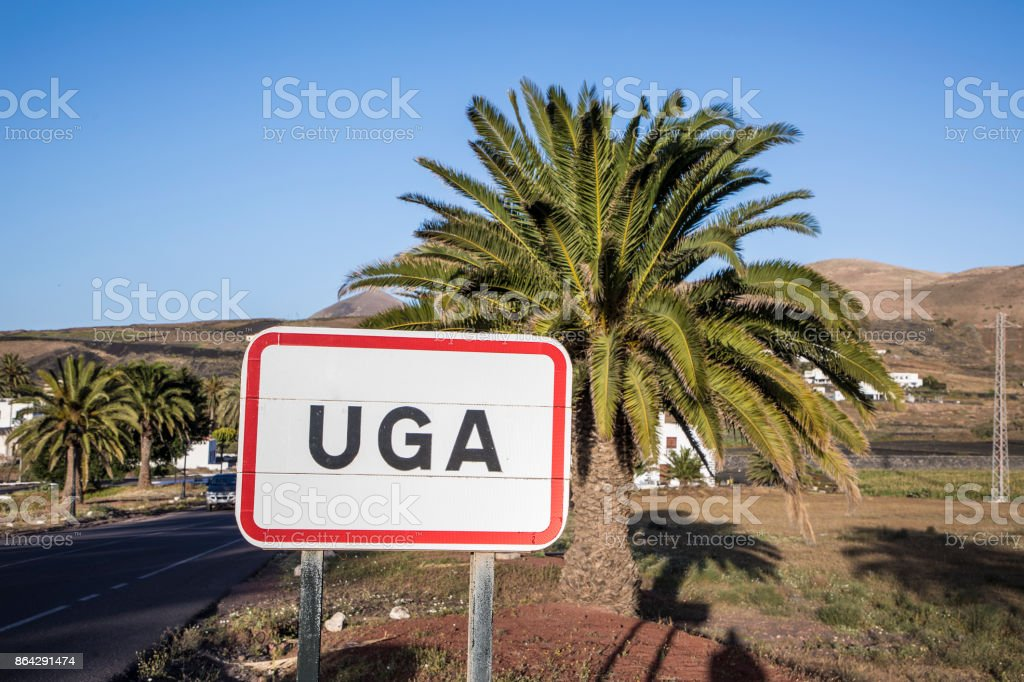 town sign UGA in Lanzarote royalty-free stock photo
