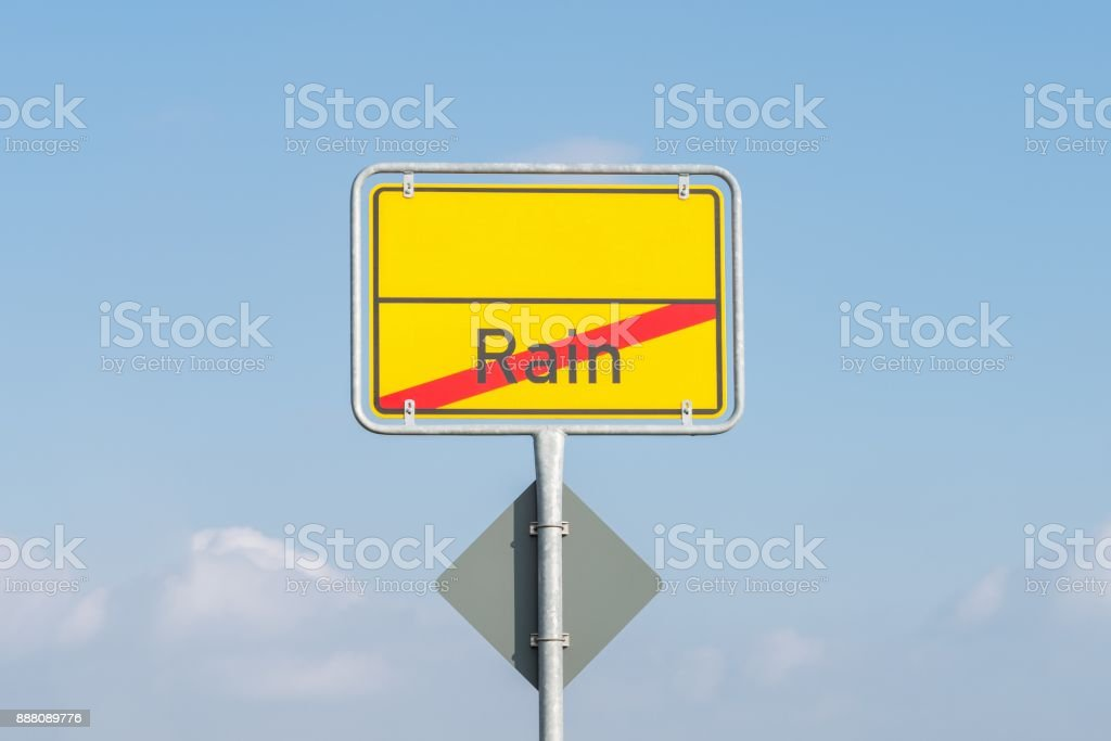 Town sign with the word rain, Bavaria, Germany stock photo