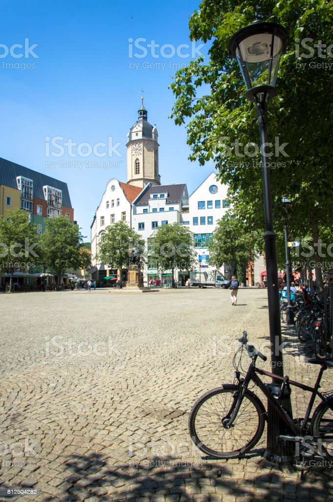 Town Square and City Church St. Michael in German city Jena, Germany stock photo