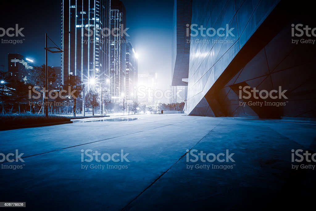 town square at night stock photo
