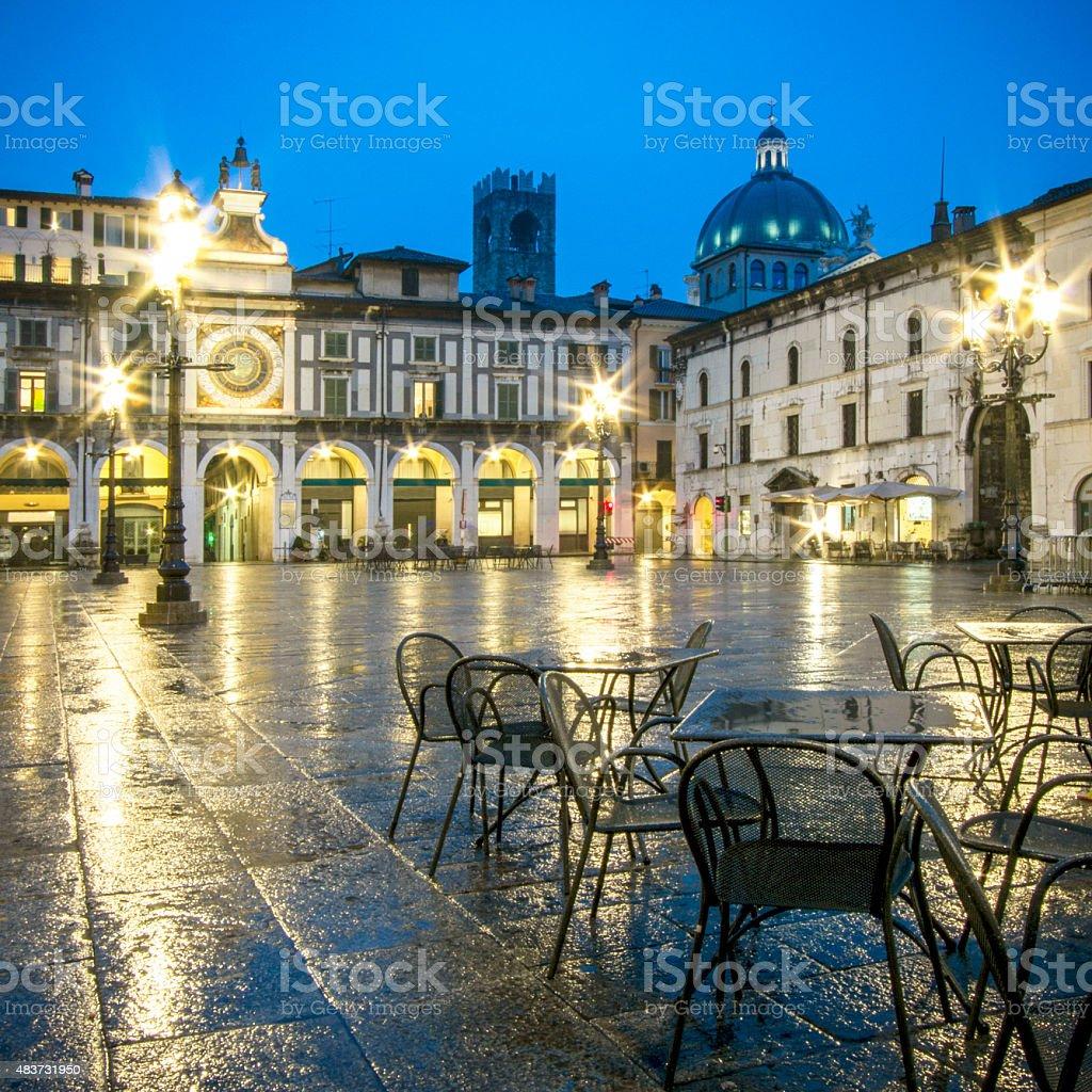 Town square, Brescia a notte - foto stock