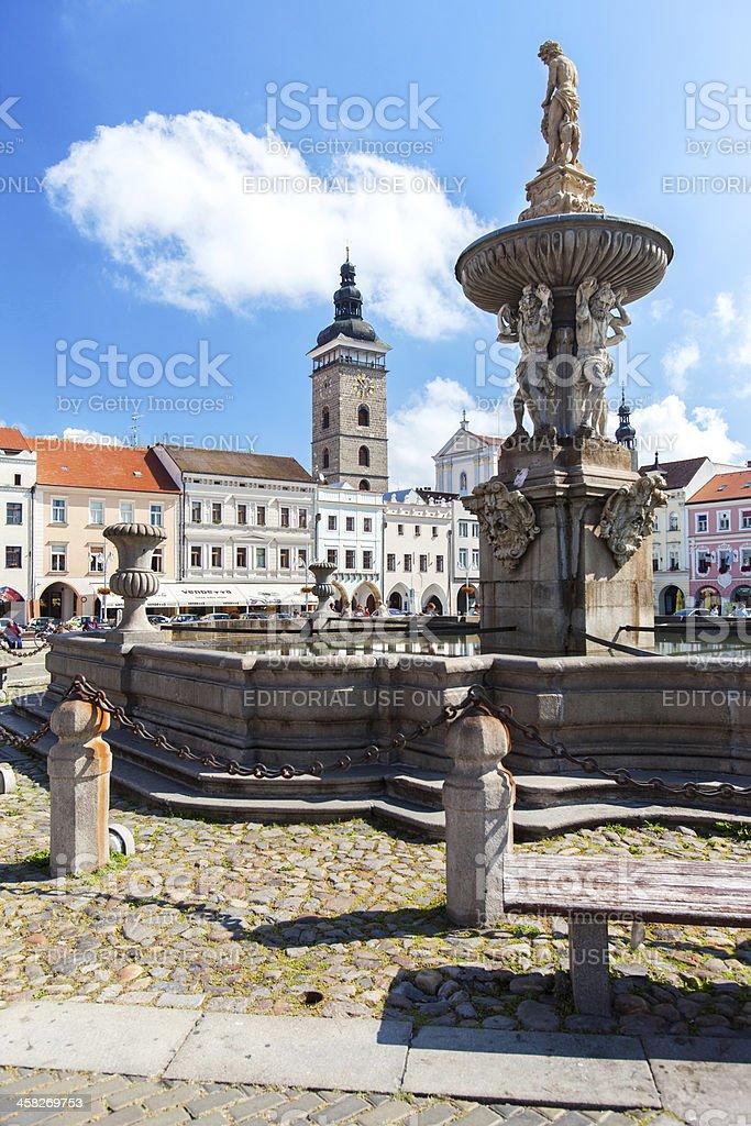 Town Square in Ceske Budejovice, Czech Republic. stock photo